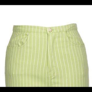 'Denim' Striped Cropped Pant (Plus)